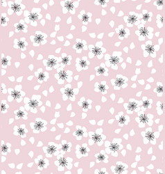 sakura blossom seamless pattern on pale pink vector image