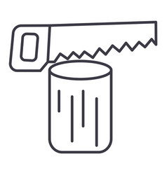 saw logchainsaw line icon sig vector image