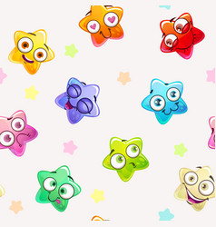 seamless pattern with funny colorful star vector image vector image