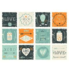 Set of grunge valentines day design elements vector
