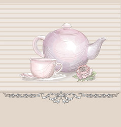 tea time vintage background tea kettle and cup vector image vector image