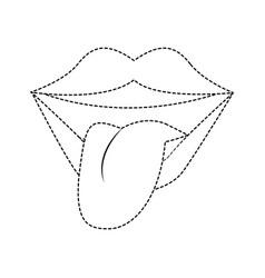 tongue out pop art vector image