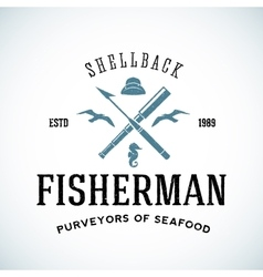 Vintage shell back fisherman logo template vector