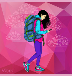 Walking girl with a mobile phone vector