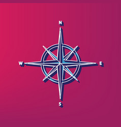 Wind rose sign blue 3d printed icon on vector