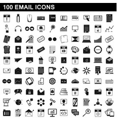 100 email icons set simple style vector image