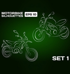 Motorbike silhouettes set 1 vector