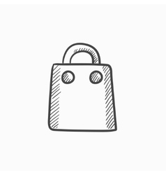 Shopping bag sketch icon vector