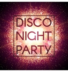 Disco night party banner on explosion background vector