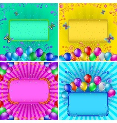 Holiday backgrounds with balloons set vector