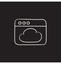 Browser window with cloud sketch icon vector