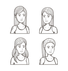 Women with different hairstyles set vector