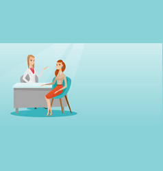 Doctor consulting female patient in office vector