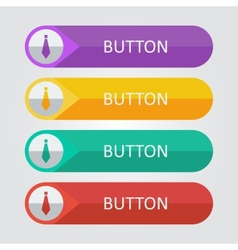 Flat buttons with tie icon vector