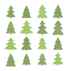 Set of hand drawn christmas trees vector
