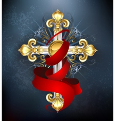 Cross with a red ribbon vector