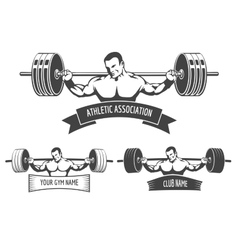 Powerlifting athletic logo set vector