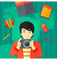 Man holding camera vector