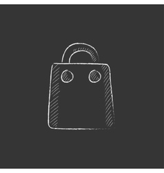 Shopping bag drawn in chalk icon vector