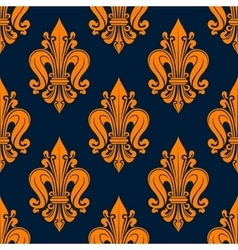 Orange french fleur-de-lis seamless pattern vector