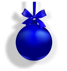Blue ball with a bow and place for an inscription vector