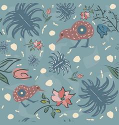 Exotic kiwi bird seamless pattern vector