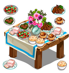 Festive table with delicious food and flowers vector