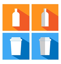 Flat icons for coffee cups and bottles coffee vend vector