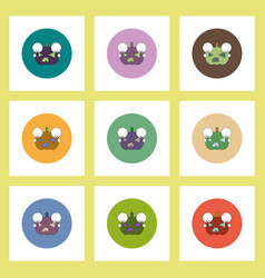 Flat icons halloween set of smiling pumpkin vector