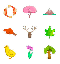 Forest landscape icons set cartoon style vector