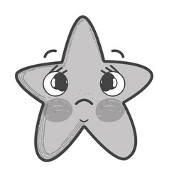 Grayscale kawaii sad star with cheeks and eyes vector