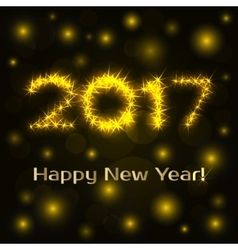 Happy Ney year greeting card shine numbers 2017 vector image