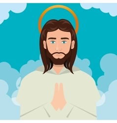 Jesus christ prayer ascension design vector image vector image