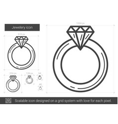 Jewelry engagement ring line icon vector