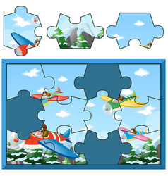 Jigsaw puzzle with kids flying planes vector