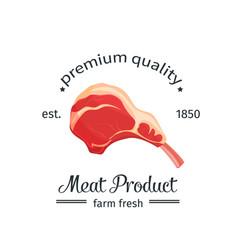 Lamb chop vintage emblem vector