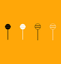 lollipop black and white set icon vector image