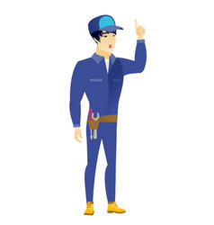 Mechanic with open mouth pointing finger up vector