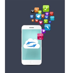 New Realistic Mobile Phone With Blue Screen vector image vector image