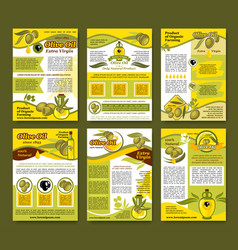 Olive oil organic farm product poster template set vector