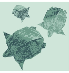 Origami creative turtles drawing vector image vector image