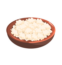 Plate of cottage cheese food item rich in vector
