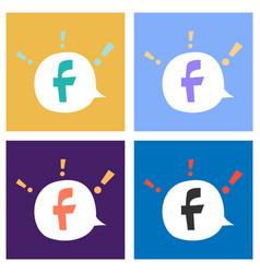 set of facebook logotype social network icon vector image