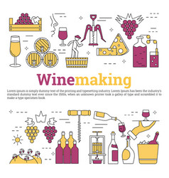 square web banner - wine making vector image vector image