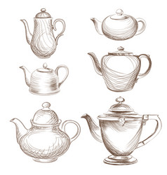 Tea kettles set teapots drawn collection coffee vector