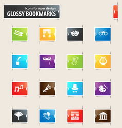 Theater bookmark icons vector