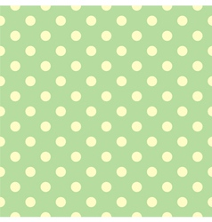 Tile pattern yellow polka dots green backgground vector image vector image