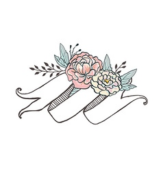 White hand drawn ribbon with peonys and roses vector image vector image