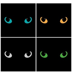 Wild cat eyes on black background set vector