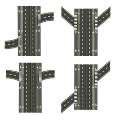 Set of different road sections interchanges vector